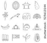 sri lanka travel icons set....   Shutterstock . vector #525613144