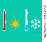 thermometer icon. vector.... | Shutterstock .eps vector #525614431