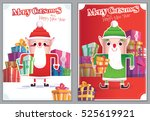 set christmas greeting card... | Shutterstock .eps vector #525619921