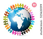 people around globe. men... | Shutterstock .eps vector #525620599