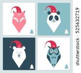 set of winter holidays cards... | Shutterstock .eps vector #525632719