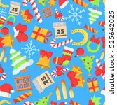 christmas pattern seamless with ... | Shutterstock .eps vector #525642025