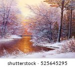 winter landscape with the... | Shutterstock . vector #525645295
