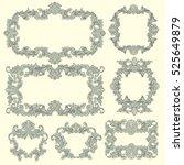 victorian baroque floral... | Shutterstock .eps vector #525649879