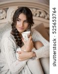 beautiful girl in a white... | Shutterstock . vector #525653764