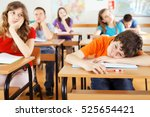 group of bored pupils in a... | Shutterstock . vector #525654421