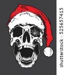 skull wearing santa claus hat | Shutterstock .eps vector #525657415