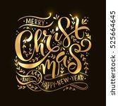 typography merry christmas  ... | Shutterstock .eps vector #525664645