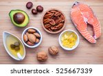 Stock photo selection food sources of omega and unsaturated fats super food high vitamin e and dietary fiber 525667339