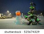 Snowman With Jack O Lantern...