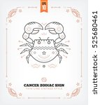 vintage thin line cancer zodiac ... | Shutterstock .eps vector #525680461