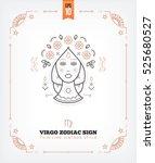 vintage thin line virgo zodiac... | Shutterstock .eps vector #525680527