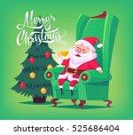 cute cartoon santa claus... | Shutterstock .eps vector #525686404