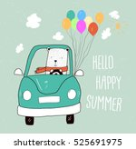 cute white teddy bear with car... | Shutterstock .eps vector #525691975