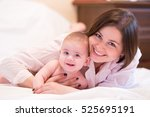 mother and her lovely and cute... | Shutterstock . vector #525695191