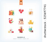 set of vector flat drinks and... | Shutterstock .eps vector #525697741
