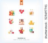 set of vector flat drinks and... | Shutterstock .eps vector #525697741