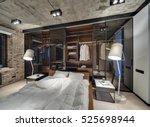 loft style bedroom with brick... | Shutterstock . vector #525698944