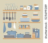 kitchen shelves and cooking... | Shutterstock .eps vector #525699289