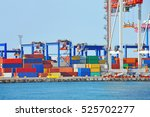 port cargo crane and container... | Shutterstock . vector #525702277
