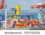 port cargo crane and container... | Shutterstock . vector #525702331