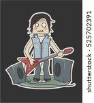 funny little rock guy sticker ... | Shutterstock .eps vector #525702391