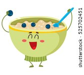 cute and funny bowl of cereal ... | Shutterstock .eps vector #525702451