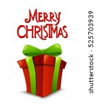 christmas gift box with ribbon... | Shutterstock .eps vector #525703939