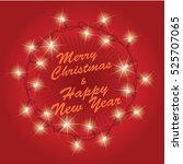 glowing christmas lights wreath ... | Shutterstock .eps vector #525707065