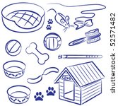 Stock vector doodle collection of pet supplies for dogs and cats 52571482