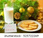 cookies and milk for santa... | Shutterstock . vector #525722269
