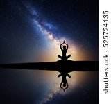 milky way. silhouette of a... | Shutterstock . vector #525724135