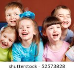 group of five preschool kids... | Shutterstock . vector #52573828
