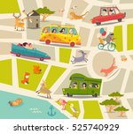 Cartoon Map Vector. Happy...