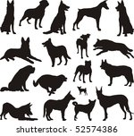 Stock vector illustration of dog breeds black vector 52574386