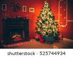 beautiful christmas living room ... | Shutterstock . vector #525744934