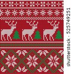 knitted christmas and new year... | Shutterstock .eps vector #525749251