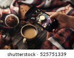 hand holding phone taking photo ... | Shutterstock . vector #525751339