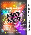 night dance party poster... | Shutterstock .eps vector #525752239
