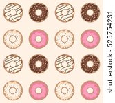 seamless pattern. sweet donuts... | Shutterstock .eps vector #525754231