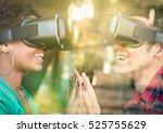 multiracial couple in love... | Shutterstock . vector #525755629