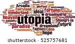 utopia word cloud concept.... | Shutterstock .eps vector #525757681