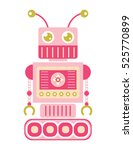 pink 2d flat icon robot on... | Shutterstock .eps vector #525770899