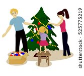 family decorate christmas tree... | Shutterstock .eps vector #525775219