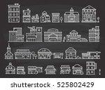 set of cute building doodle | Shutterstock . vector #525802429