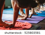 women practicing yoga and... | Shutterstock . vector #525803581
