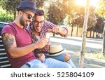 two handsome friends taking a... | Shutterstock . vector #525804109
