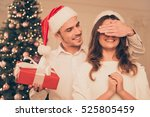 Cheerful Man In Santa Hat With...