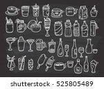 beverages doodle set on... | Shutterstock . vector #525805489