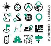 map  navigation icon set | Shutterstock .eps vector #525806809
